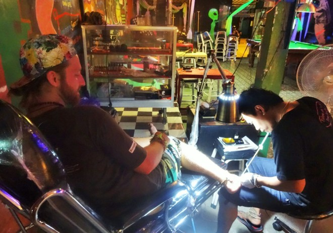 Getting bamboo tattooed in Sugar Member
