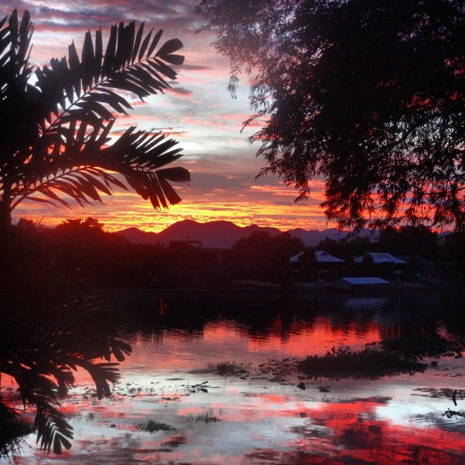 Sunset over the River Kwai from the Jolly Frog garden
