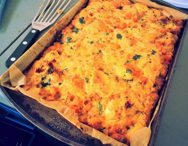 Sweet potato breakfast strata right out of the oven