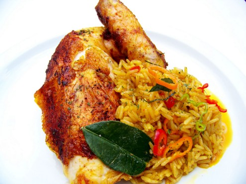 Thai-Spiced Roast Chicken, Ginger Jasmine Rice
