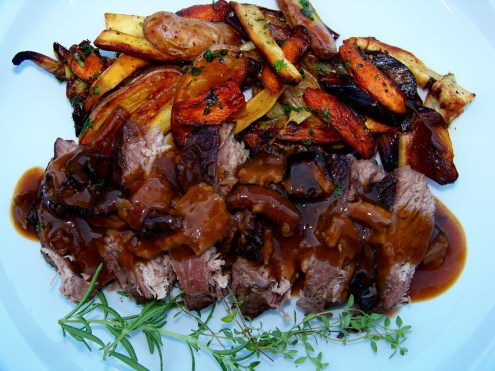 Classic Pot Roast with Mushroom Pan Gravy and Roasted Root Vegetables