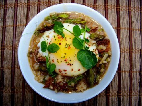 Roasted Asparagus and Maitake Soup