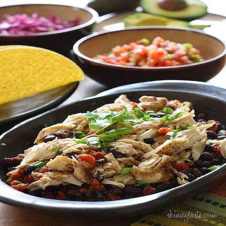 Slow Cooker Chicken Black Bean Taco