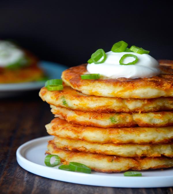 Cheesy Leftover Mashed Potato Pancake