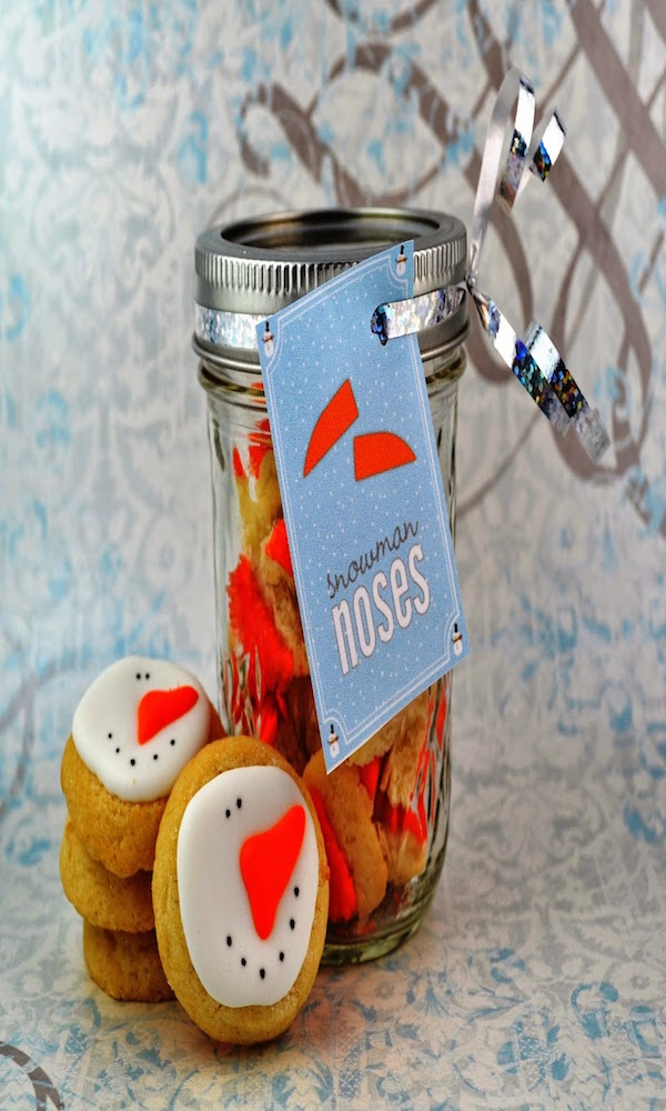 snowman nose cookies in a jar