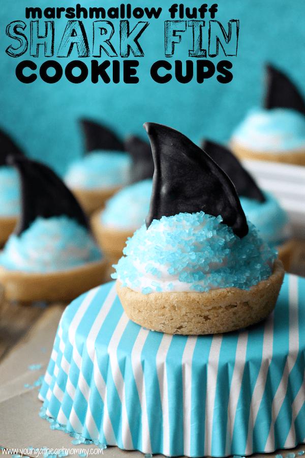 Marshmallow-Fluff-Shark-Fin-Cookie-Cups