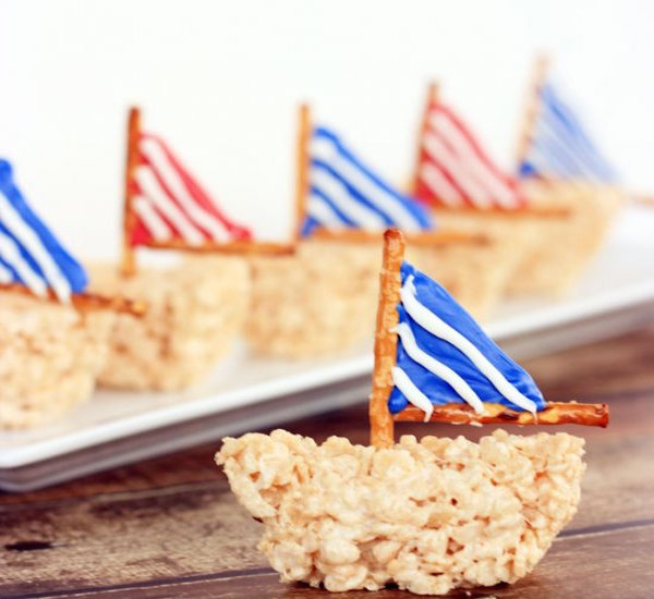 sailboat rice krispies treat