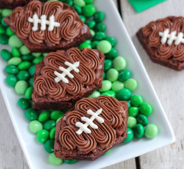 Frosted football brownies edible crafts for Arts and crafts for brownies
