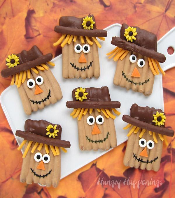 19 Edible Turkey Crafts Thanksgiving Crafts: Chocolate Pretzel Scarecrow Treats