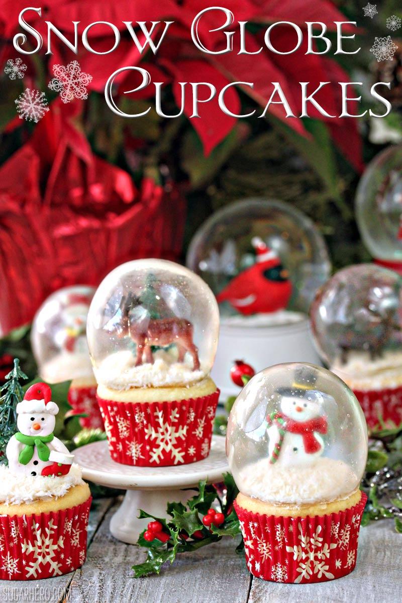 snow globe Christmas cupcakes party food