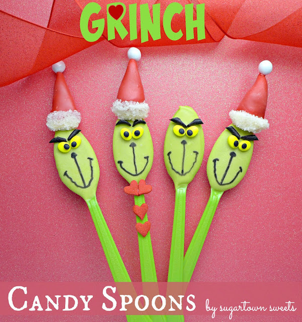 Grinch Candy Spoons – Edible Crafts