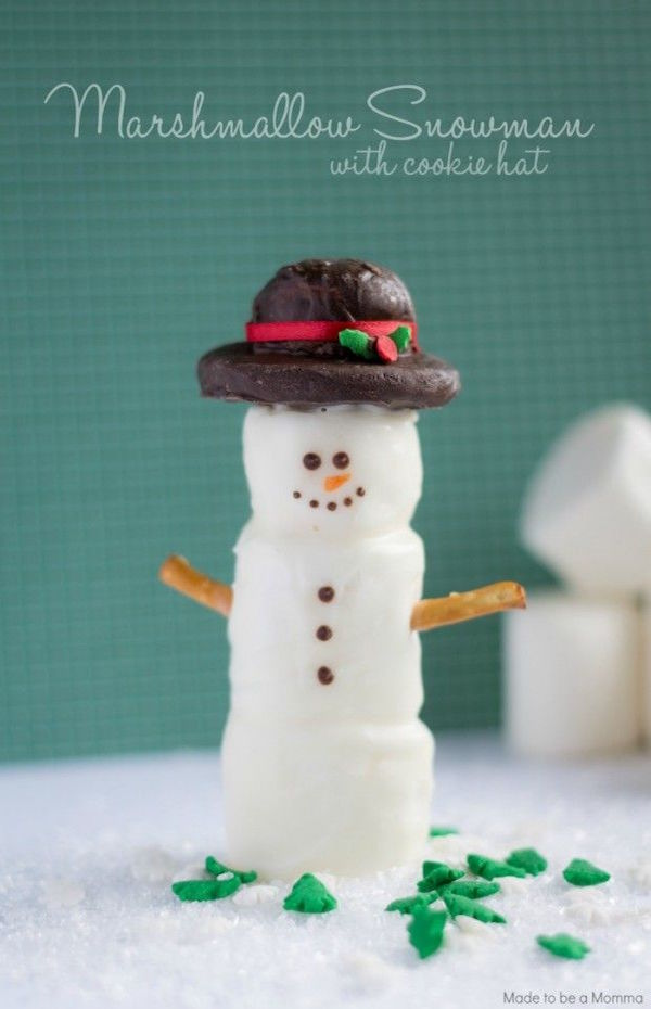 marshmallow snowman with cookie hat
