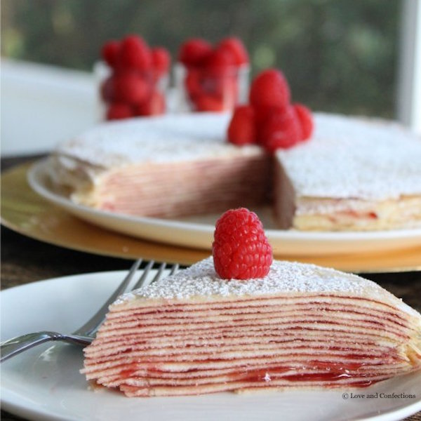 cream cheese raspberry crepe cake