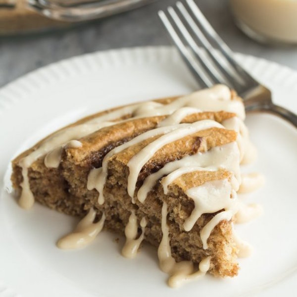 healthier cinnamon roll baked pancake