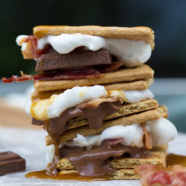 grilled caramel bacon s'mores