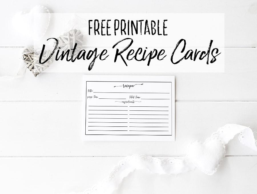 Free Printable Vintage Recipe Cards - Edible Crafts