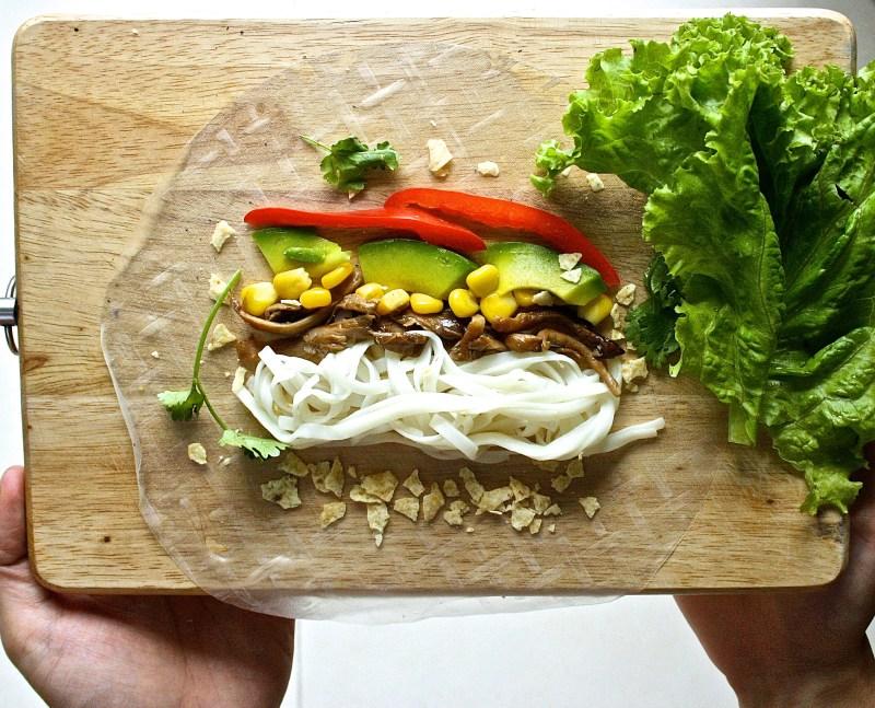 vegan vietnamese spring roll recipe and ingredients