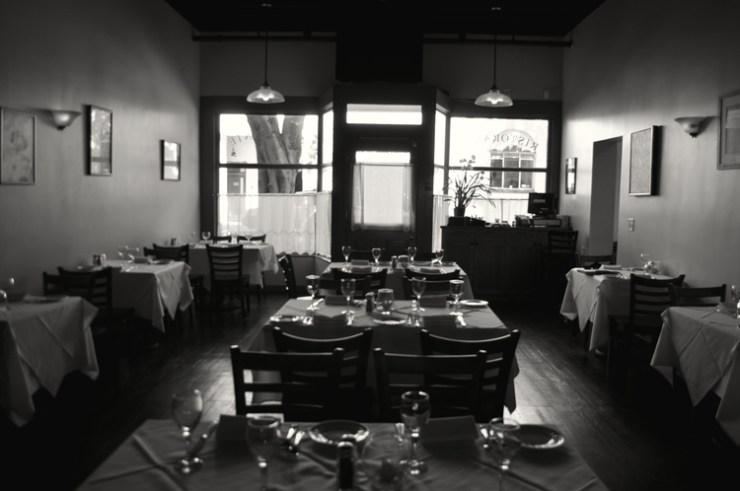 interior black and white image of la locanda restaurant