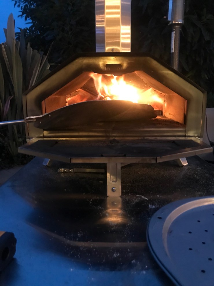 pizza in a wood fired oven