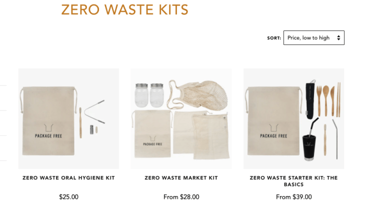 Zero Waste Kits available on Package Free