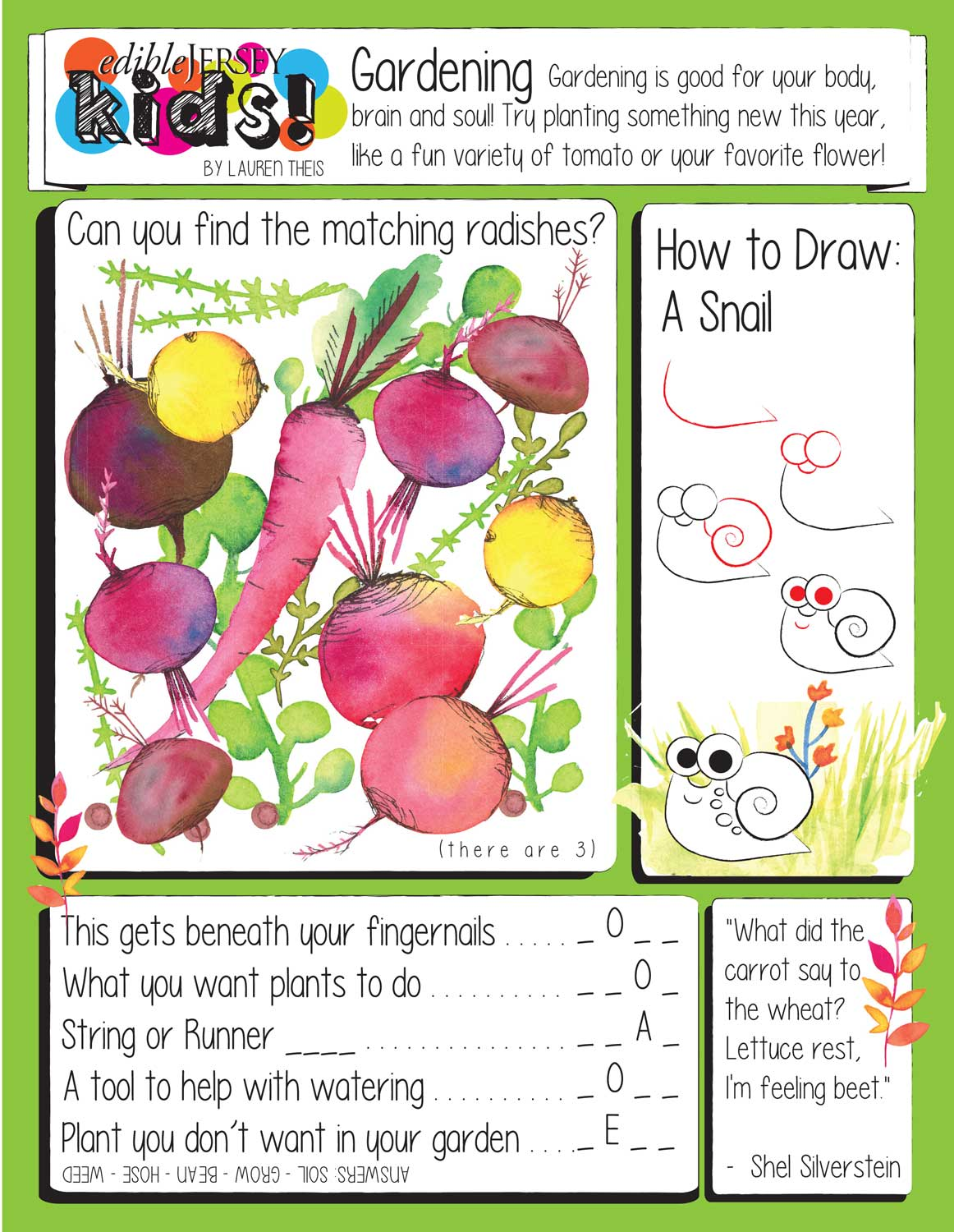 A Gardening Activity Sheet For Kids