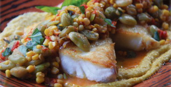 Striped Bass with Succotash and Creamy Corn Purée