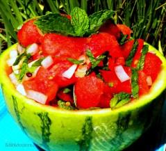 Watermelon, Mint & Onion Salad