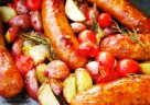 Oven Roasted sausages with Potatoes, Tomatoes & Rosemary