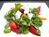 Roasted Beet Salad with Goat Cheese & Fava Beans