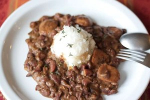 New Orleans red beans and rice on white plate
