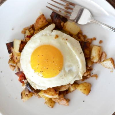 Heavenly skillet hash with sausage, mushrooms & Parmesan