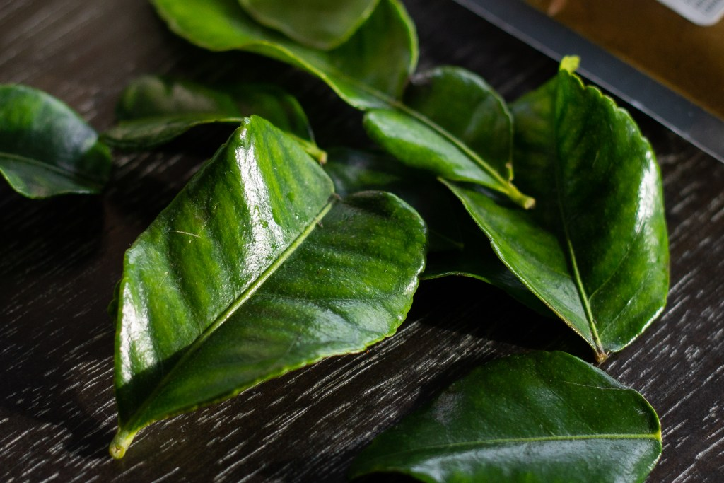 Kaffir lime leaves for chicken curry recipe from Edible Times