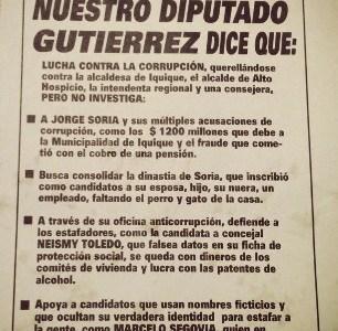 Siguen acciones contra diputado Gutiérrez. Ahora lanzan panfletos para descalificarlo