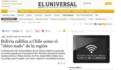 """Bolivia califica a Chile como el """"chico malo"""" de la región"""