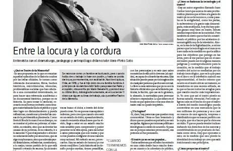 Entre la locura y la cordura: Entrevista con el dramaturgo, pedagogo y antropólogo chileno Iván Vera-Pinto Soto