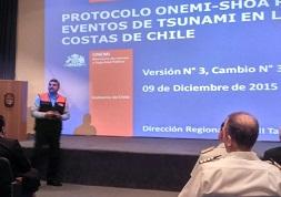 ONEMI Tarapacá y Armada presentaron actualización de protocolo para actuar ante riesgo de tsunamis