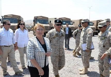 Presidenta Bachelet entrega nuevos vehículos para el Ejército, inversión de más de 79 millones de dólares