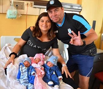Pareja de profesores debutan como padre, con el nacimiento de trillizos