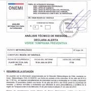 ONEMI declara alerta temprana preventiva por precipitaciones en distintas zonas geográficas de Tarapacá