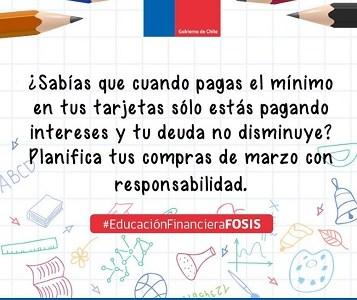 Para evitar endeudamiento excesivo, FOSIS implementa programa de educación financiera