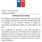 Piñera confirmó lo anunciado. Esta medianoche se levanta el estado de emergencia en todo el país