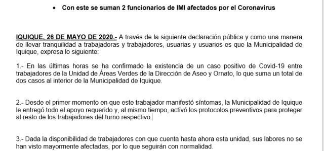 Funcionario de Áreas Verdes, resultó positivo para coronavirus, reportó Municipalidad de Iquique