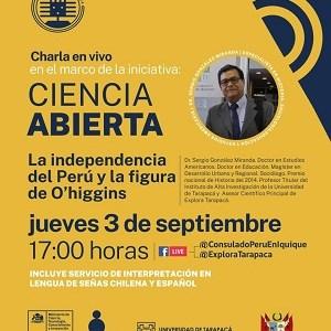 Sergio González presentará conferencia virtual sobre figura de O´Higgins en el Perú, en contexto del bicentenario