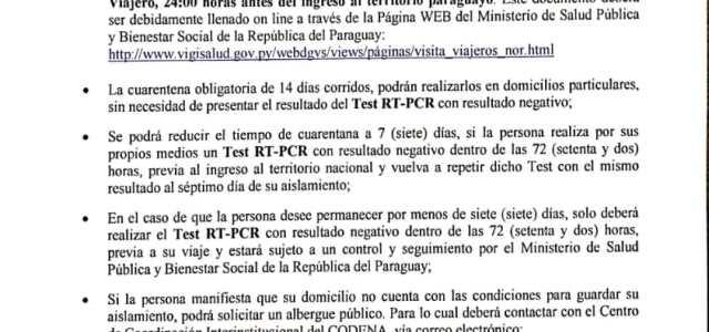 Paraguay regula ingreso de sus connacionales y extranjeros al momento de ingresar a territorio paraguayo