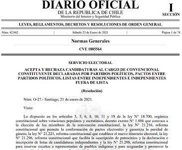 """Distrito 2: Servel acepta 37 candidaturas constituyentes, 9 duplas para escaños reservados y rechaza listas """"Tarapacá Feliz"""" y """"Lista del Apruebo"""""""