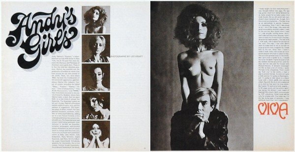 """Teatime on Mars: magazine spread: Left page: headline """"Andy's Girls"""" and thumbnails of different Factory denizens. Right page: large image of Viva and Andy: Viva stands naked behind Andy in a leather jacket"""