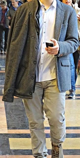 Stylish man in Bologna, grey on grey.