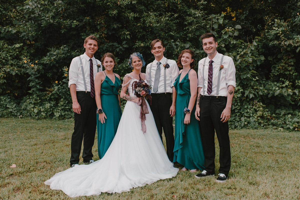 Wedding Party of 5 people standing outside