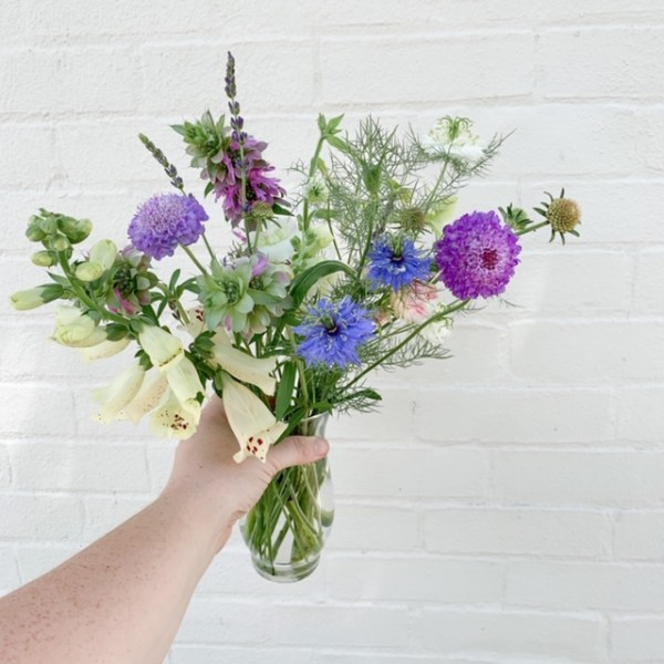 hand holding vase of white, purple and blue flowers against a white wall