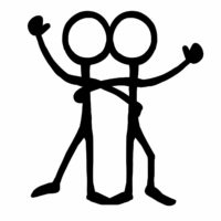 Stick figure brother with arm around brother